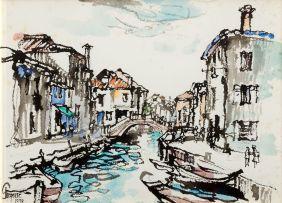 Gregoire Boonzaier; Venetian Canal with Gondolas
