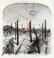 William Kentridge; Arched Landscape, from a series of early tests for making stereoscopic drawings