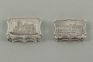 A Victorian silver castle-top vinaigrette of Exeter Cathedral, Nathaniel Mills, Birmingham, 1843
