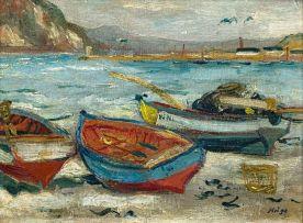 François Krige; Fishing Boats on Hout Bay Beach