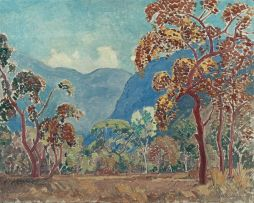 Jacob Hendrik Pierneef; Mountainous Landscape with Trees