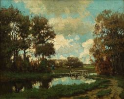 Tinus de Jongh; Figure by a Foot Bridge