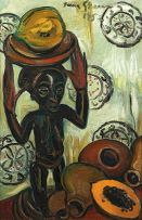 Irma Stern; Buli Stool with Fruit
