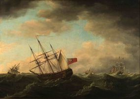 Francis Holman; A Convoy of East Indiamen in a Gale