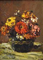 Adriaan Boshoff; Vase of Zinnias