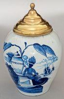 A Dutch Delft Drie Klokken tin-glazed blue and white snuff jar, 18th/19th century