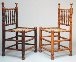 A pair of Cape keurboom tolletjie chairs, first quarter 18th century