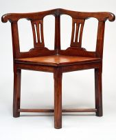 A Cape stinkwood and yellowwood Chippendale style corner chair, late 18th century