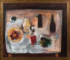 Cecil Skotnes; Still Life with Fruit, Olives, Wine Bottle and Coffee Pot