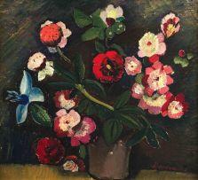 Pranas Domsaitis; Still Life of Flowers in a Vase, recto; Still Life of Flowers in a Jug, verso
