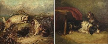 Follower of George Armfield; Terriers Rabitting; Waiting for Master, a pair