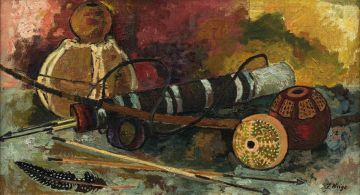 François Krige; Still Life of Bow, Arrows and Decorated Gourds
