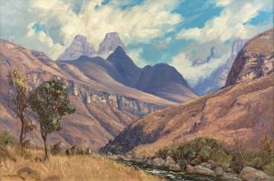 Willem Hermanus Coetzer; Mountainous Landscape with Rondawels