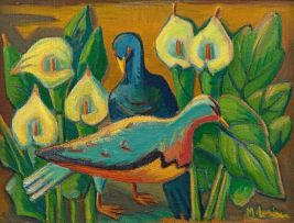 Maggie Laubser; Blue Pigeons Amongst Arum Lilies