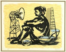 William Kentridge; Woman with a Megaphone