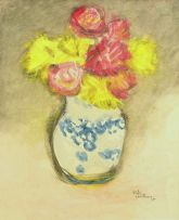 Pieter van der Westhuizen; Still Life with Roses in a Blue and White Vase