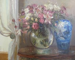 Marié Vermeulen-Breedt; Still Life with Carnations, Daisies and Lilies