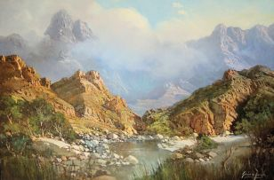 Gabriel de Jongh; Mountainous Landscape with River