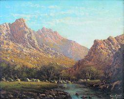 Tinus de Jongh; Mountainous Landscape with River