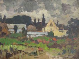 Piet van Heerden; Homestead in an Overcast Landscape