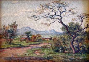 Erich Mayer; Huts in a Bushveld Landscape
