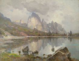 Emo Mazzetti; Serene Lake Scene