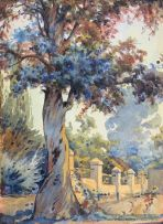 Erich Mayer; Trees along a Garden Wall