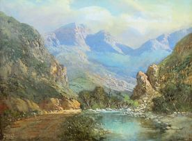 Gabriel de Jongh; Road and River, Mountains Beyond
