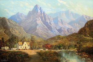 Gabriel de Jongh; Homestead Nestled Among Mountains