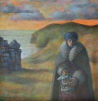 Cyril Fradan; Autumn Triptych II, Coated Lady with Lantern