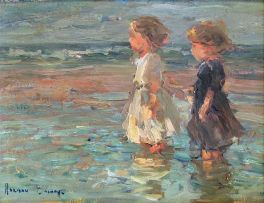 Adriaan Boshoff; Two Young Girls in Shallow Water