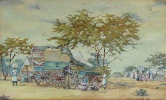 Erich Mayer; A Trek Encampment with Figures Resting under a Tree