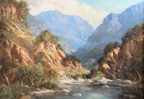 Gabriel de Jongh; Banks of a River, Mountains Beyond