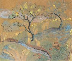 Edith King; Trees Along a River Bank