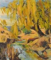 Emily Isabel Fern; Willow Tree by a River