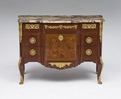 A Louis XVI/Transitional style marble-topped kingwood, parquetry and marquetry gilt-metal mounted commode, early 20th century