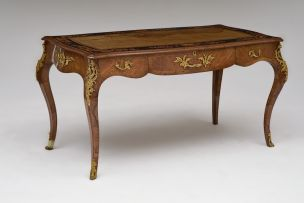 A Louis XV style walnut and marquetry desk, late 19th/early 20th century