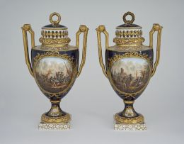 A pair of Helena Wolfsohn vases and covers, Dresden, late 19th century