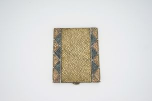 An Art Deco silver-mounted shagreen and gilt-metal cigarette case