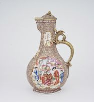A Chinese famille-rose ewer and cover painted in the Mandarin palette, Qing Dynasty, Qianlong (1735-1796)