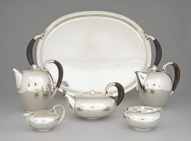 A Georg Jensen silver tea and coffee service, designed in 1933 by Johan Rohde, post 1945, number 787