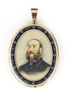 *A gold and blue enamel double portrait miniature frame