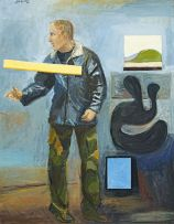 Simon Stone; Man with Landscape and Sculpture