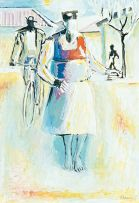Gerard Sekoto; The Woman Followed by Bicycle