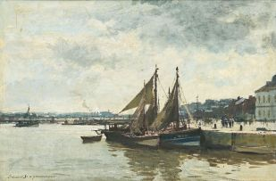 Edward Seago; Fishing Boats Returning to Harbour, Honfleur