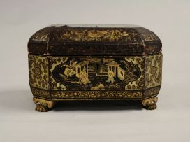 A Chinese Export lacquer tea caddy, 19th century