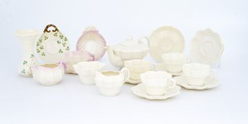 A Belleek Erne pattern part tea service, late 19th century