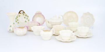 A Belleek Erne pattern part tea service, late 19th century