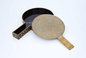 A Japanese bronze hand mirror, Meiji Period (1868-1912)