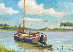 Maggie Laubser; A Sailing Barge on a Canal